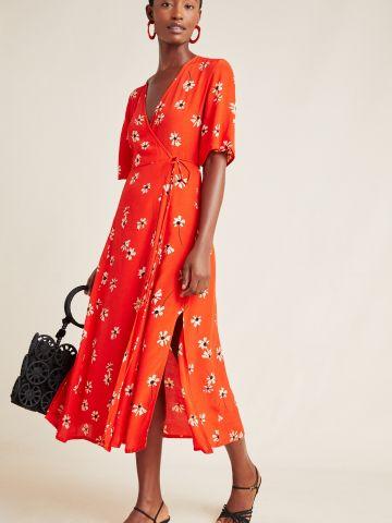 שמלת מידי מעטפת בהדפס פרחים Faithfull של ANTHROPOLOGIE