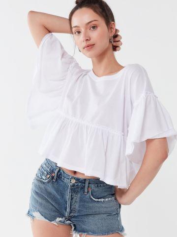 חולצת פפלום עם עיטורי מלמלה UO של URBAN OUTFITTERS