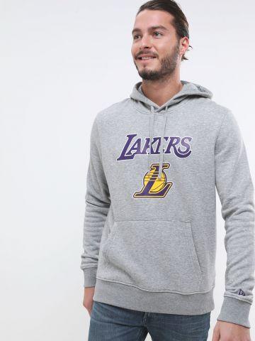 סווטשירט קפוצ'ון עם הדפס Lakers של NEW ERA
