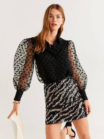 חצאית מיני בהדפס זברה עם פאייטים של MANGO