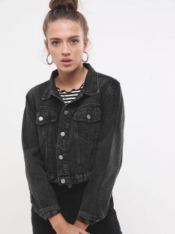 ג'קט ג'ינס ווש בגזרת קרופ של TERMINAL X