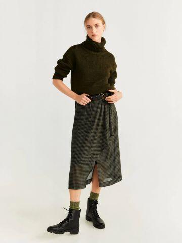 חצאית מידי בהדפס משבצות עם עיטור מלמלה של MANGO
