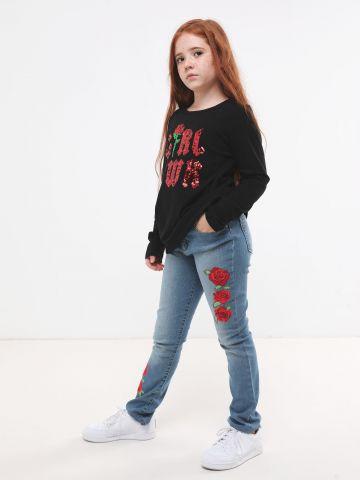 ג'ינס ארוך עם רקמת פרחים של THE CHILDREN'S PLACE
