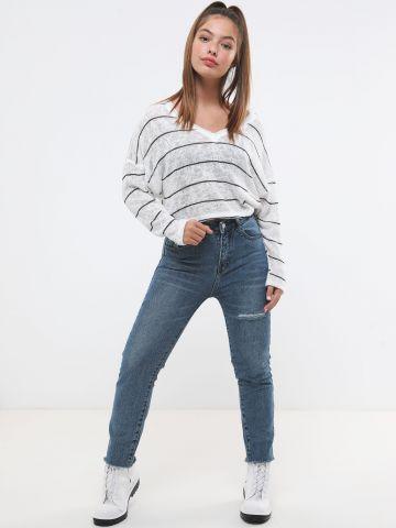 ג'ינס בויפרנד בשטיפה כהה של TERMINAL X