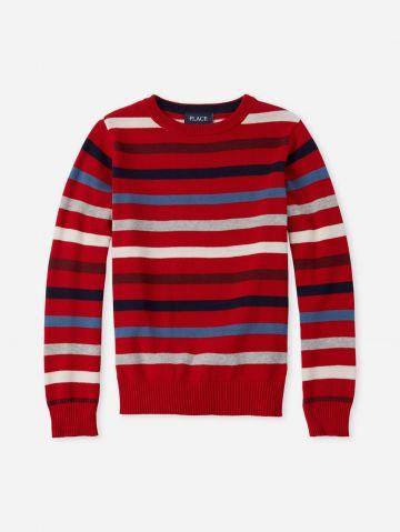 סוודר בייסיק בדוגמת פסים / בנים של THE CHILDREN'S PLACE