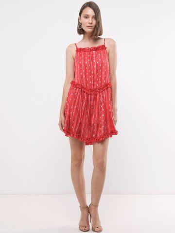 שמלת מיני בהדפס פסים מטאליים ועיטורי מלמלה X נטע אפרתי של YANGA