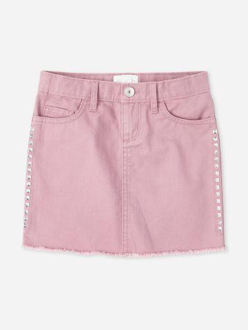 חצאית ג'ינס מיני עם ניטים / בנות של THE CHILDREN'S PLACE