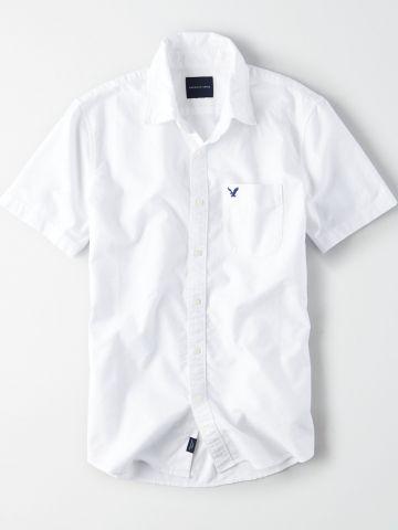 חולצה מכופתרת קצרה עם כיס לוגו / גברים של AMERICAN EAGLE