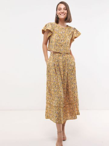 חצאית מקסי בהדפס פרחים מטאלי SABINA MUSAYEV של YANGA