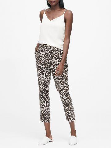 מכנסי קרופ בהדפס מנומר של BANANA REPUBLIC