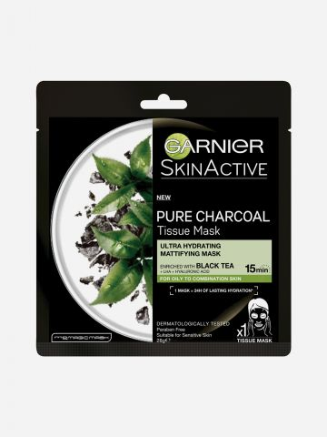 מסכת בד פחם תה שחור Black Tissue Charcoal של GARNIER