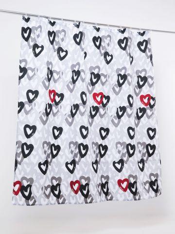 וילון אמבטיה בהדפס לבבות של FOX HOME