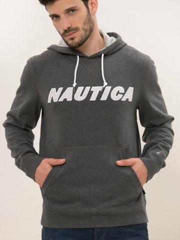 סווטשירט קפוצ'ון עם רקמת לוגו של NAUTICA