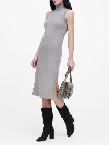 שמלת מידי סריג ריב עם צווארון גולף של BANANA REPUBLIC