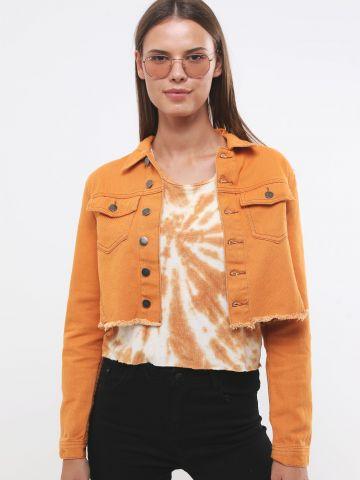 ג'קט ג'ינס קרופ עם תפרים מודגשים וסיומת פרומה של TERMINAL X