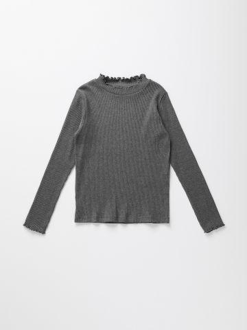 חולצת ריב עם שוליים גליים / בנות של UNIQLO