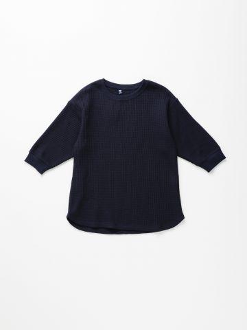 חולצת וופל עם שרוולים 3/4 / בנות של UNIQLO