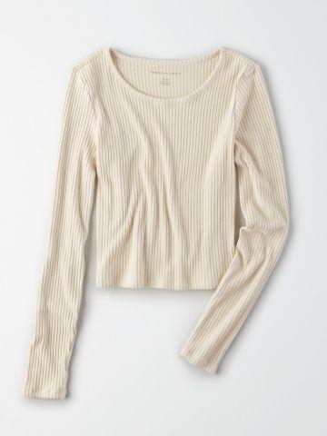 חולצת ריב קרופ עם שרוולים ארוכים / נשים של AMERICAN EAGLE
