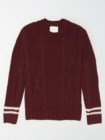סוודר קלוע עם סטריפים / גברים של AMERICAN EAGLE