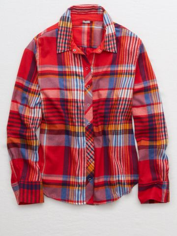 חולצת פיג'מה פלאנל מכופתרת בהדפס משבצות / נשים של AERIE