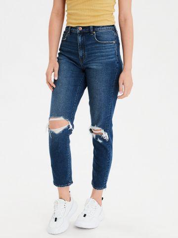 ג'ינס בגזרת Mom גבוהה עם קרעים של AMERICAN EAGLE