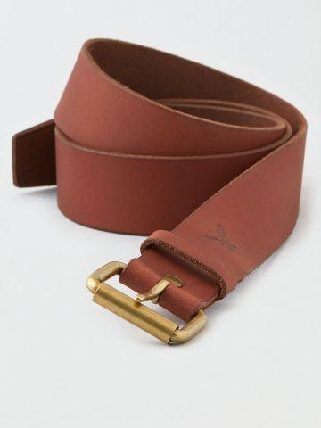 חגורת עור עם חריטת לוגו / גברים של AMERICAN EAGLE