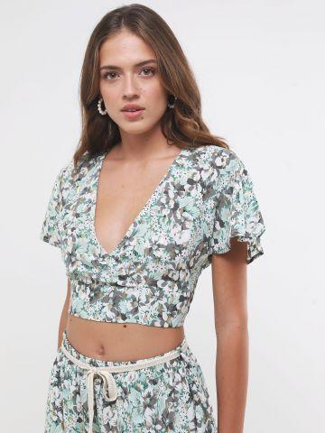 חולצת קרופ מעטפת בהדפס פרחים של YANGA