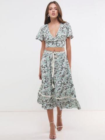 חצאית מידי בהדפס פרחים עם חגורה של YANGA