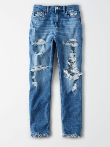 ג'ינס Curvy Mom סטרץ' עם קרעים וסיומת פרומה / נשים של AMERICAN EAGLE