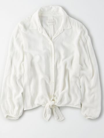 חולצה מכופתרת עם אלמנט קשירה / נשים של AMERICAN EAGLE