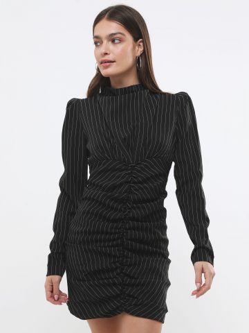 שמלת מיני בהדפס פסים עם כיווצים ושרוולים ארוכים של TERMINAL X