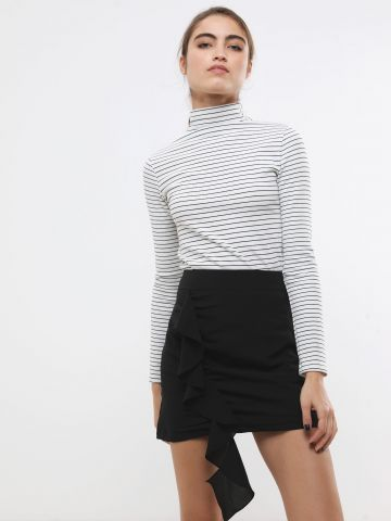 חצאית מיני עם עיטור מלמלה של TERMINAL X
