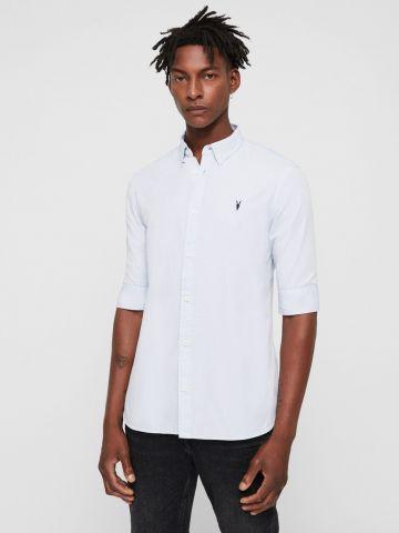 חולצה מכופתרת עם שרוולי 3/4 ורקמת לוגו של ALL SAINTS