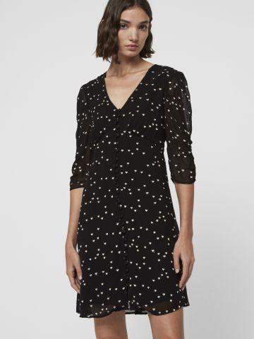 שמלת מיני מכופתרת בהדפס לבבות עם שרוולים נפוחים של ALL SAINTS