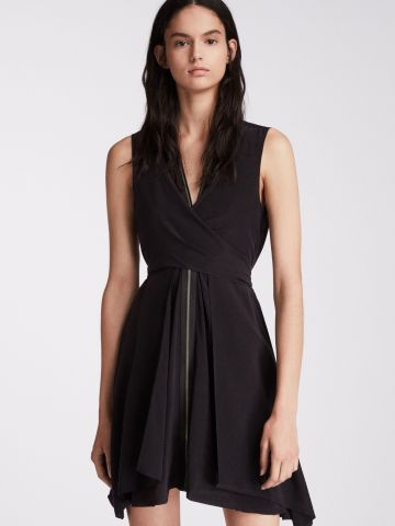 שמלת מיני משי בסגנון מעטפה עם רוכסן של ALL SAINTS