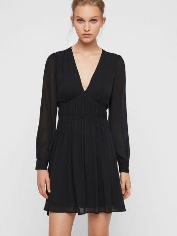 שמלת מיני כיווצים עם שרוולים ארוכים של ALL SAINTS