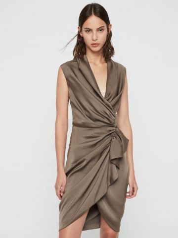שמלת מיני בסגנון מעטפת ובעיטור קפלים של ALL SAINTS