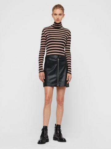 חצאית מיני דמוי עור עם רוכסן של ALL SAINTS