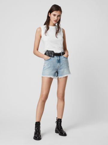 ג'ינס קצר בשטיפה בהירה של ALL SAINTS