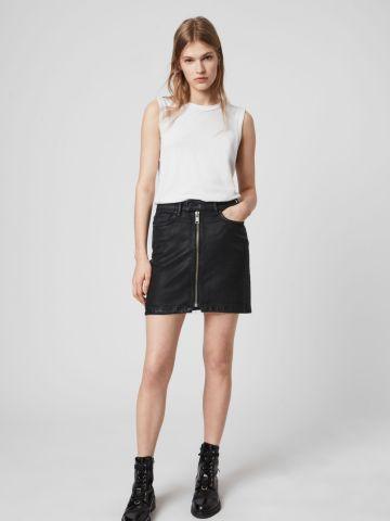 חצאית מיני ג'ינס עם רוכסן של ALL SAINTS