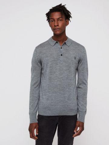חולצת פולו צמר ארוכה עם לוגו של ALL SAINTS