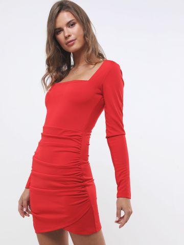 שמלת מיני עם כיווצים ומפתח מרובע של TERMINAL X