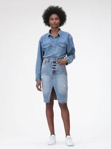 חצאית ג'ינס עיפרון עם שסע של GAP