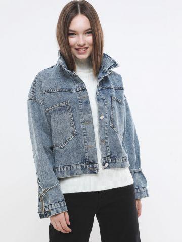 ג'קט ג'ינס ווש עם קשירות בשרוולים של YANGA