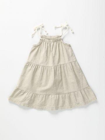 שמלת פשתן עם כתפיות קשירה / 12M-6Y של TERMINAL X KIDS