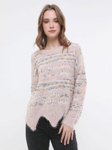 סוודר פסים עם סיומת גלית של YANGA
