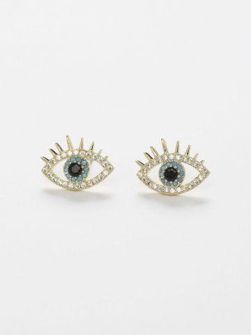 עגילים צמודים משובצים בדוגמת עין של TERMINAL X
