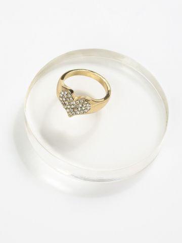 טבעת משובצת בדוגמת לב של TERMINAL X