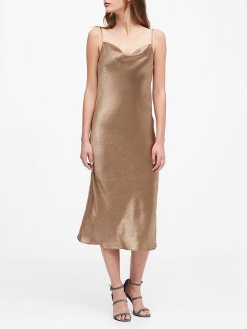 שמלת סאטן מידי עם צווארון נשפך של BANANA REPUBLIC