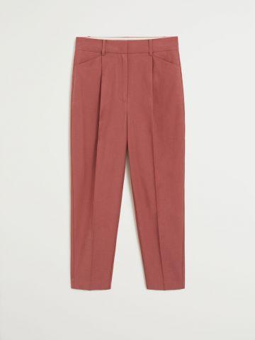 מכנסי קרופ מחויטים בגזרה ישרה של MANGO